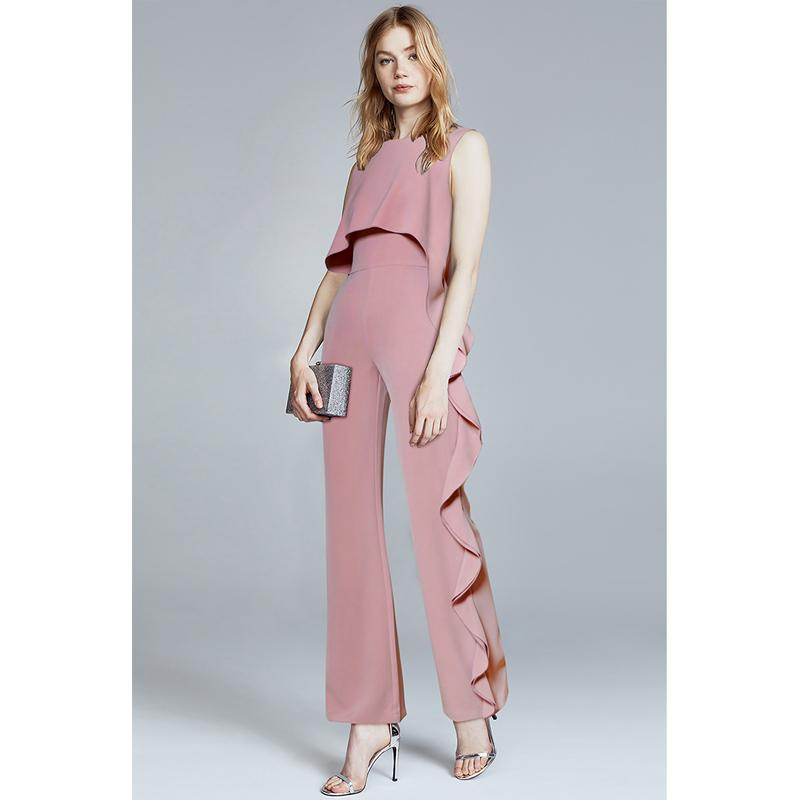 5578529f4b6 2019 Summer 2018 Womens Romper One Piece Outfits Pink Ruffles Ladies  Playsuits Wide Leg Jumpsuit Formal Evening Jumpsuits Office Wear From  Vincant