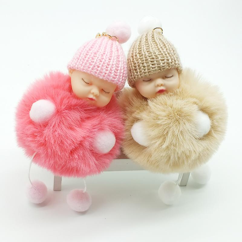 85bf67185e ZOEBER Sleeping Baby Doll Keychain Foot Doll Pompom Fake Rabbit Fur ...