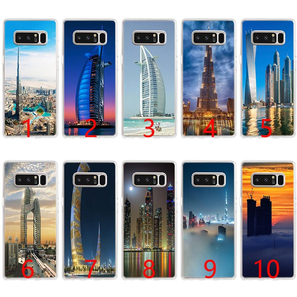 Dubai City Architectural landscape Soft Silicone Phone Case for Samsung  Note 9 8 S7 Edge S8 S9 Plus