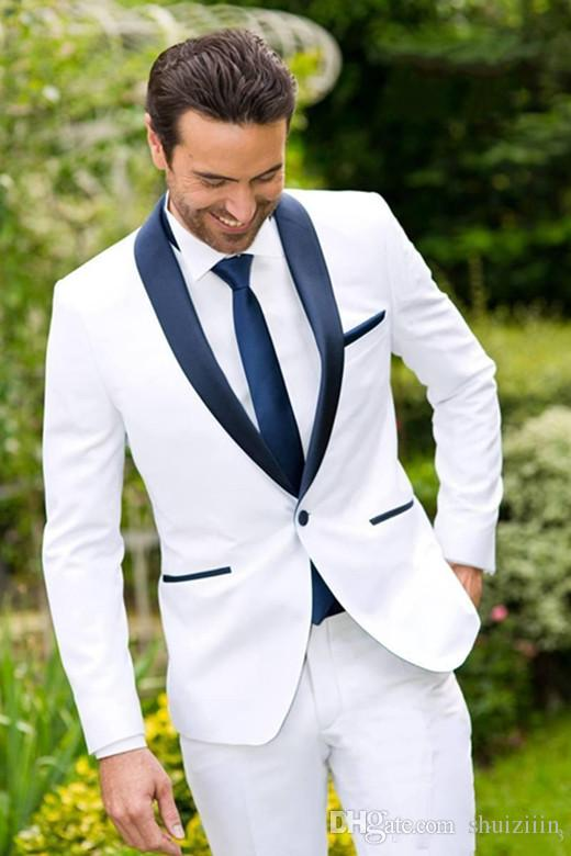 Classic Design White Groom Tuxedos Blue Lapel Best Groomsmen Suit ...