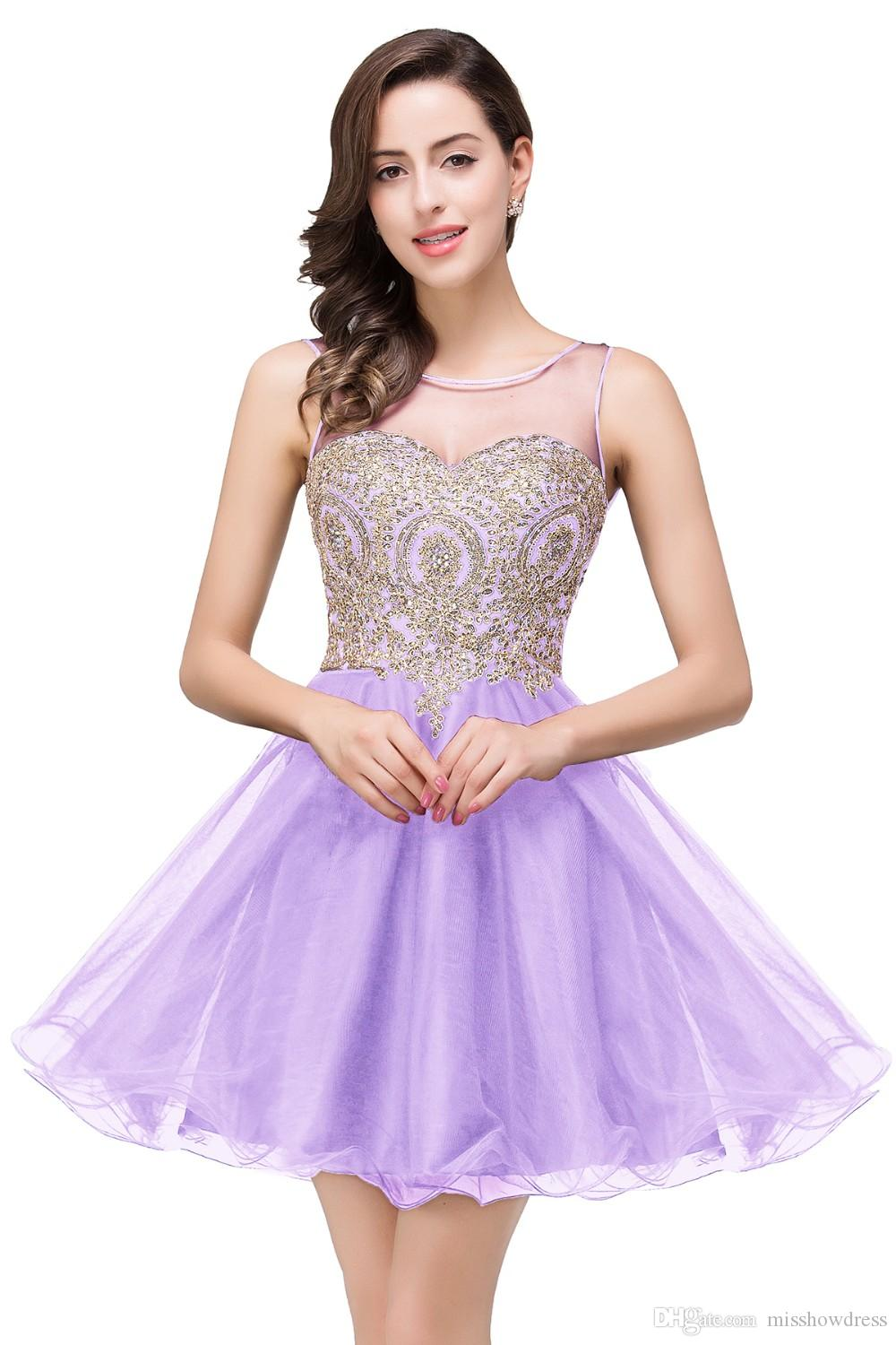 2018 Elegant Sheer Mesh Top Tulle Short A Line Homecoming Dresses Lace Applique Formal Party Cocktial Short Prom Dresses CPS362