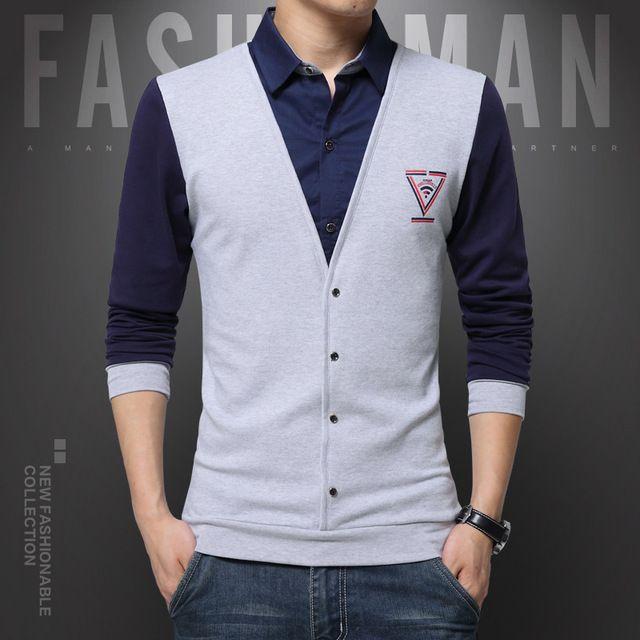 2018 New Trend False Two Fashion Casual Men Shirt Long Sleeve Slim Fit Shirt Men Print Cotton Mens Dress Shirts Men Clothes 5XL
