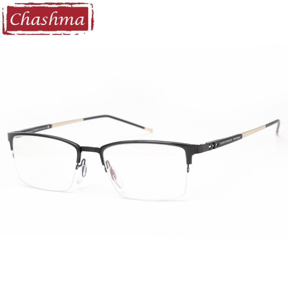 884435c676c1f Compre Chashma Marca Designer De Qualidade Quadro De Moda De Nova Estilo  Dos Homens Óculos De Armação Metade Quadro Adolescentes Tendência Eye  Glasses ...