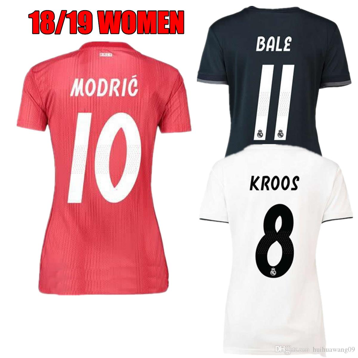 cf1947fe10 Compre 2018 2019 Mulheres Real Madrid Red Terceira Camisa De Futebol  Asensio SERGIO MODRIC RAMOS MARCELO BALE ISCO Camiseta KROOS 18 19 Home  Camisas De ...