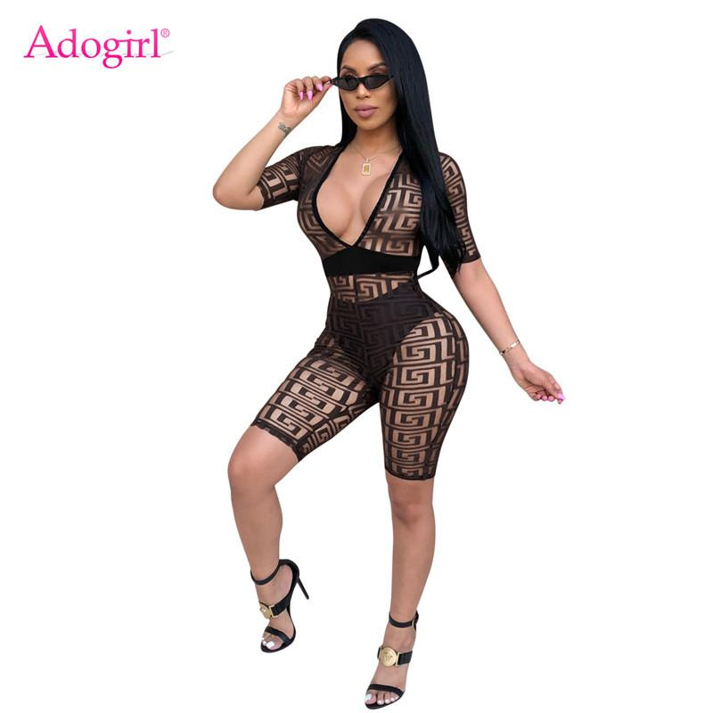 4d098ea1723 2019 Adogirl Women Sexy Sheer Mesh Romper Sexy Deep V Neck Short Sleeve  Bandage Jumpsuits Shorts Playsuit Night Club Overall Bodysuit From Cailey