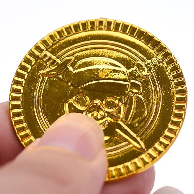 Plastic Gold Treasure Coins Cos Captain Pirate Party Favors Pretend
