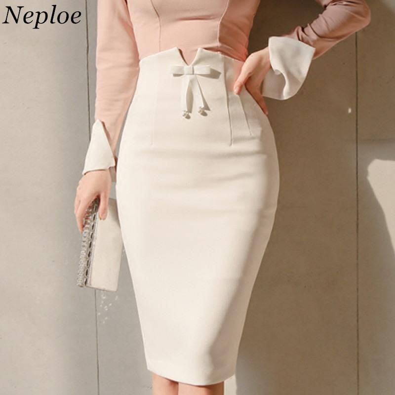 e920efbaa 2019 Neploe Pencil Skirt 2018 Bow Tie High Waist Ladies Elegant Skirts Slim  Knee Length White Skirt Femme Jupe Falda Plus Size 35461 From Beke, ...