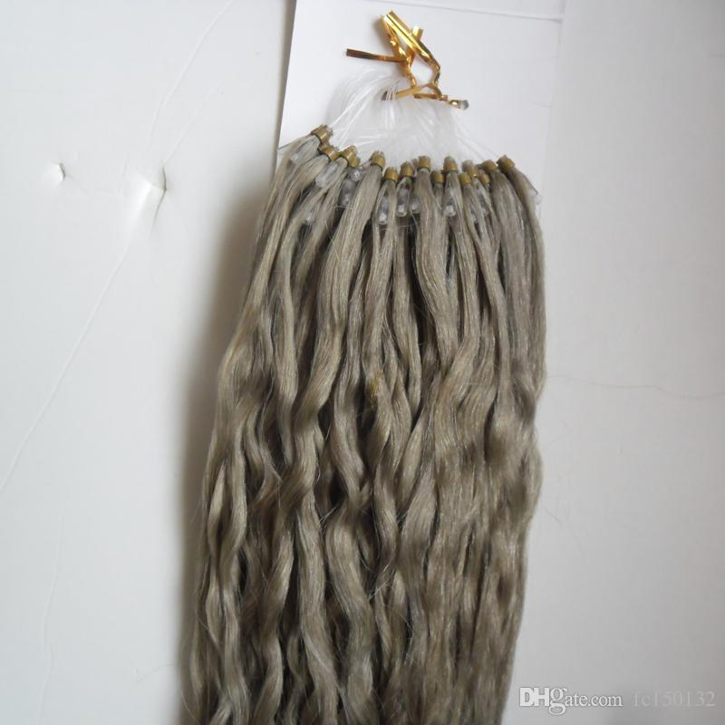 Серебряные бразильские волосы кудрявый вьющиеся микро петли волос расширение 100s 100% virgin Silver расширения 100 г 1 г/с серый микро бисера волос расширения