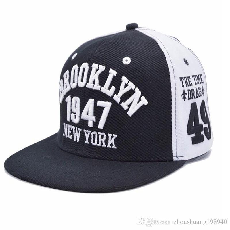 7586ac639b8 New Fashion Men s Snapbacks Baseball Caps Black White 1947 BROOKLYN Letters  Embroidery Hip Hop Cap Sun Hats Bones For Men Hats Baseball Cap Snapback  Online ...