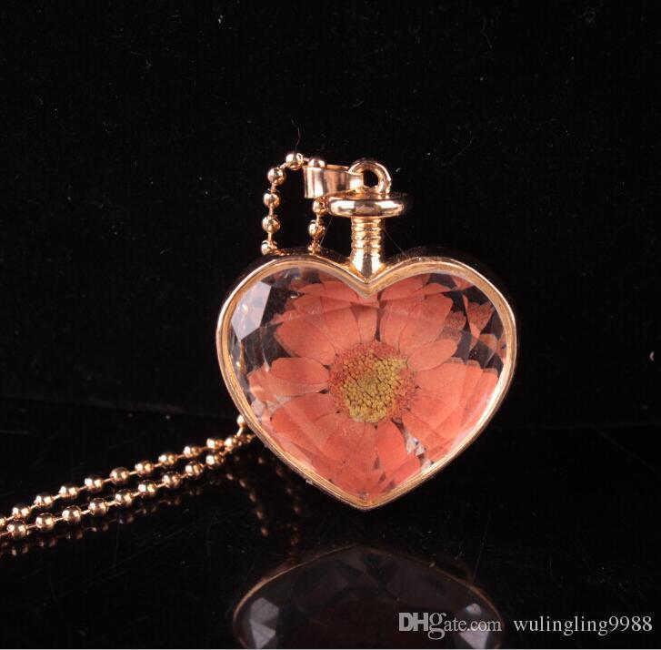 Murano Kalp Şekli Lampwork Cam Kolye Aromaterapi Kolye Kolye Takı Kuru Çiçekler Parfüm Flakon Şişe Kolye Kolye 30 ADET