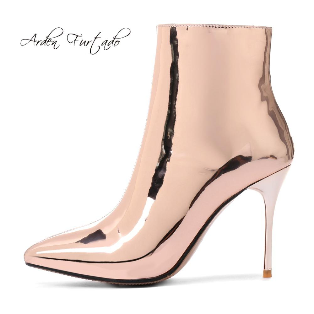 392e1b41ac8 Arden Furtado 2018 Spring Stilettos Ankle Boots Shoes Woman High Heels 9cm  Sexy Pointed Toe Zipper Gold Silver Boots Small Size Cute Shoes Boots From  ...