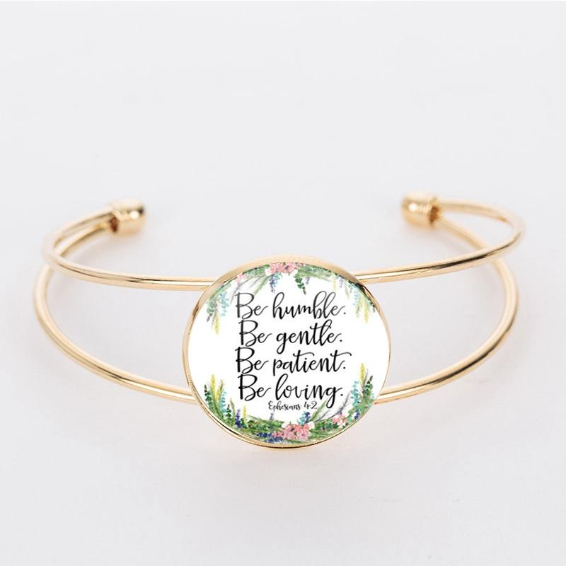 SUTEYI Personalized Dome Glass Jewelry Bible Scripture Bracelet Gifts For  Family and Friends In Two Colors