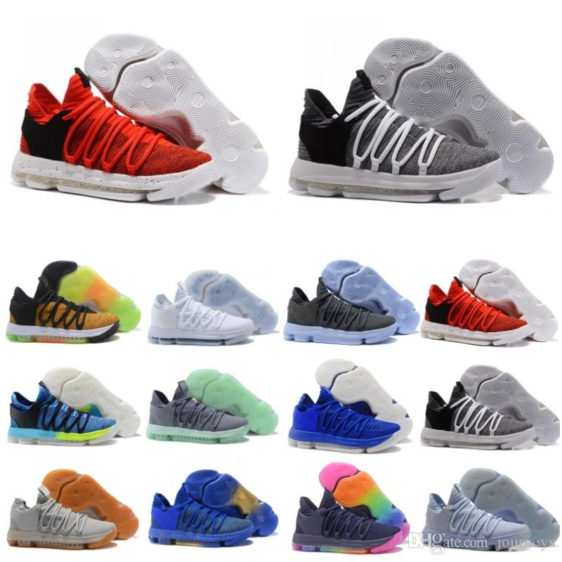 Classic Zoom KD 10 Top Mens Basketball Shoes Kevin Durant 10s Knitting Vamp  Anniversary University Red Grey Sport Sneakers UK 2019 From Journeys 04e7f13128