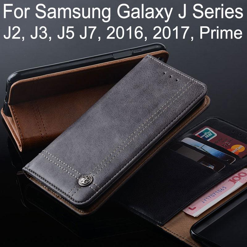 finest selection f20e6 4fd0a case for samsung galaxy j3 j5 j7 j2 2016 2017 prime coque Luxury Leather  Flip cover Stand Card Slot Without magnets Wallet funda