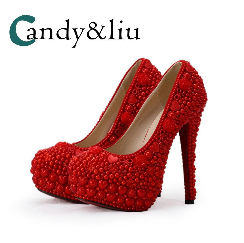 a7e17fc9fa07ab Red Peal Wedding Shoes Beaded Super High Heel Large Size Women Pumps With  Platform For Party Banquet Bridesmaid Photography Shoe Boots Sexy Shoes From  ...