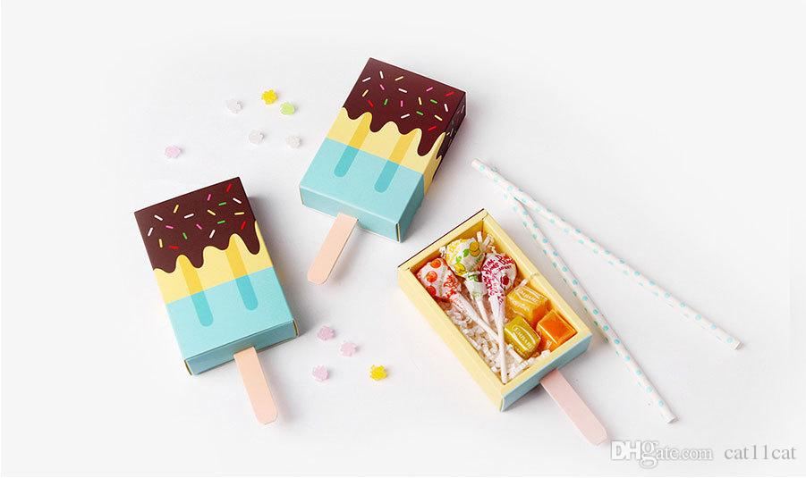 Pink Ice Cream Shape Cute Gift Box Popsicle Candy Folding Paper Box Cartoon Drawer Gift Box For Kids Baby Shower Birthday