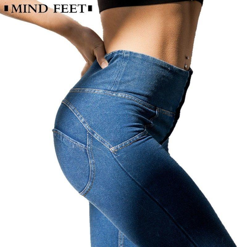 f4001e9d736 2019 MIND FEET High Waist Slim Jeans Push Up Hip Denim Pants Women Elastic  Fitness Leggings Female Spring Fitness Long Casual Pants S18101603 From  Jinmei03