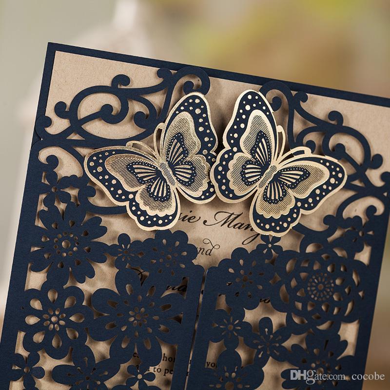WISHAMDE Wedding Invitations Elegant 3D Butterfly Flower Laser Cut Invite Cards for Marriage Anniversary Bride Shower Birthday CW7085B