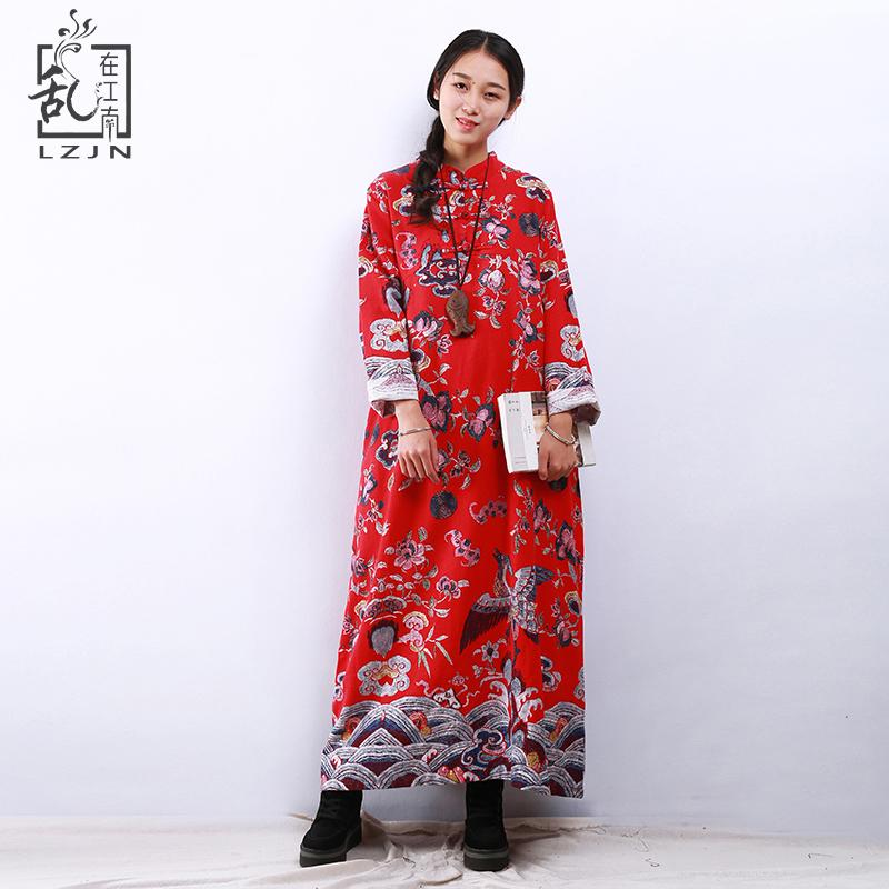 LZJN Qing Dynasty Design 2018 Spring Autumn Maxi Dresses Chic Embroidery  Cotton Linen Robe Femme Vintage Chinese Dress For Women Canada 2019 From  Radishu e0df573e7