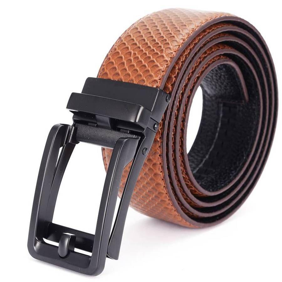 Compre Correas Deslizantes Cinturón De Trinquete De Cuero Para Hombres  Vestido Con Hebilla Deslizante Cinturón Con Hebilla Automática Cinturón  NUEVO ... 620c06aebdf2