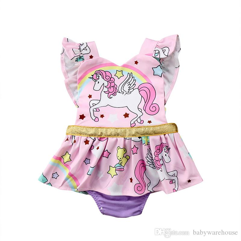 213c6a7472e 2019 Lovely Newborn Clothes Baby Girl Unicorn Romper Rainbow Ruffles Sleeve  Cartoon Animal Skirted Romper Jumpsuit Outfits Kids Princess Sunsuit From  ...