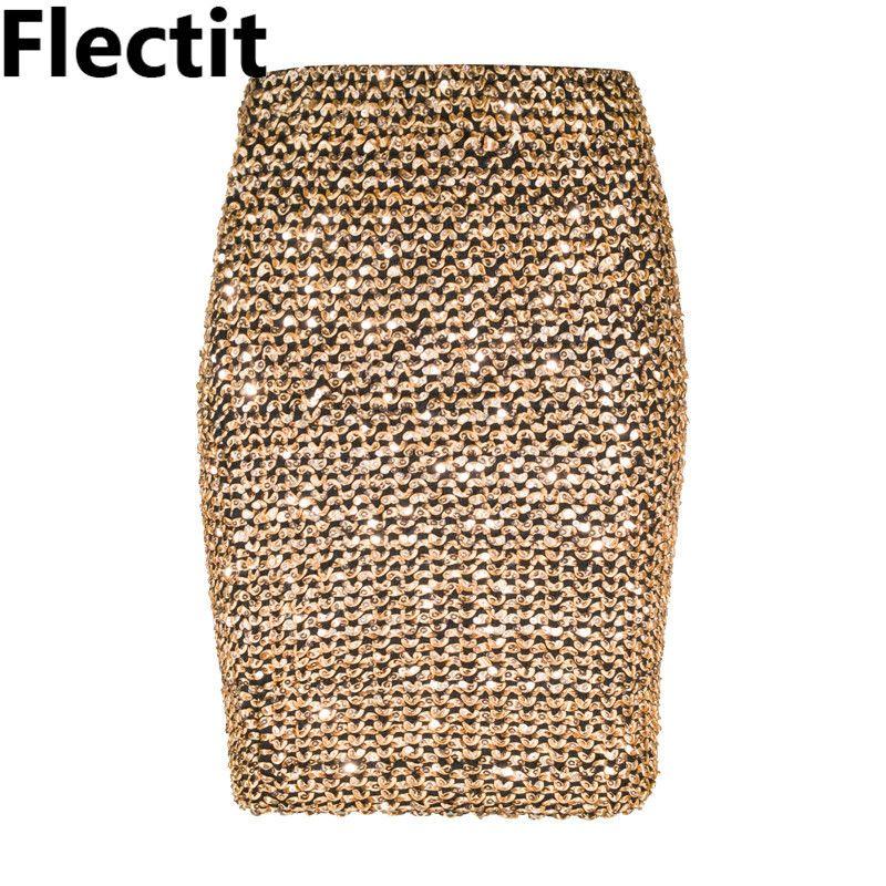 6db6dfc98 Faldas para mujer Flectit Dorado Minifalda con lentejuelas Bodycon Lápiz  falda corta falda de abrigo para Office Lady Party Girl Saia S916