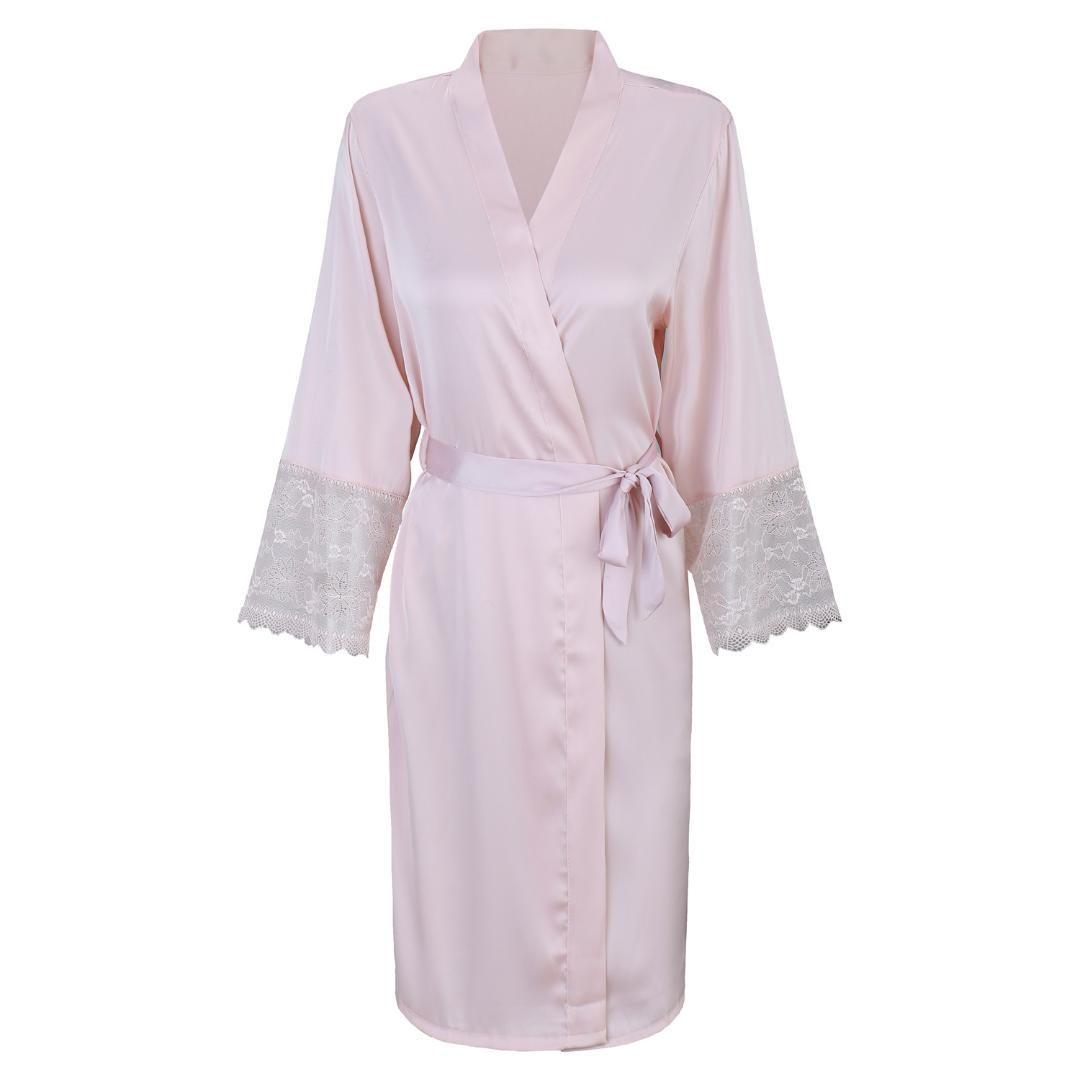 9e255bb5ce49 2018 Mulheres Sexy Sleepwear ROSA Do Casamento Da Dama De Honra Robe Para  Casa Vestido Casuais Kimono Roupão de Banho Vestido Camisola Senhora ...