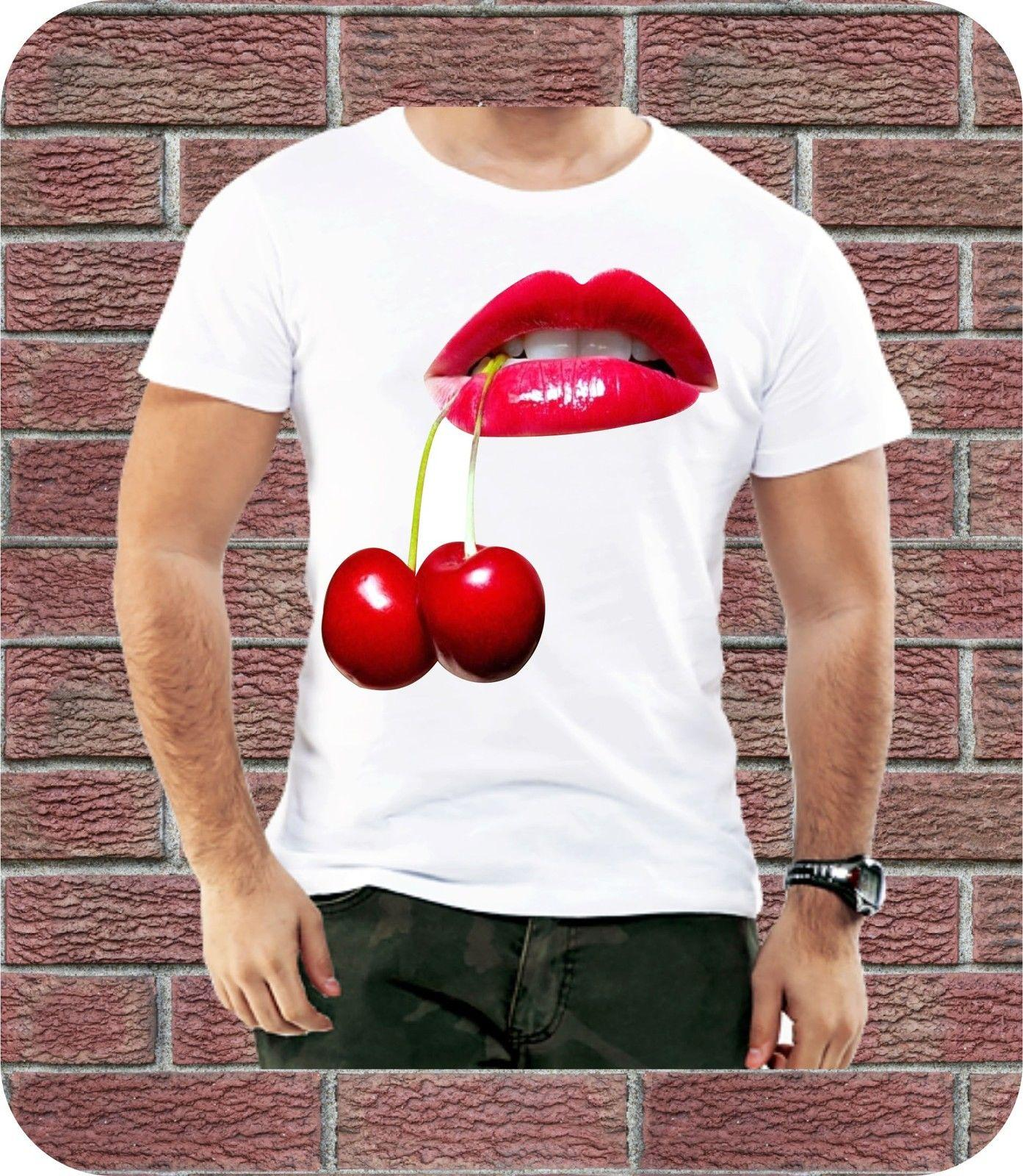 761fddb574a Cherry Red Sexy Lips Hot Men T Shirt Cool Summer Design Love Casual ...
