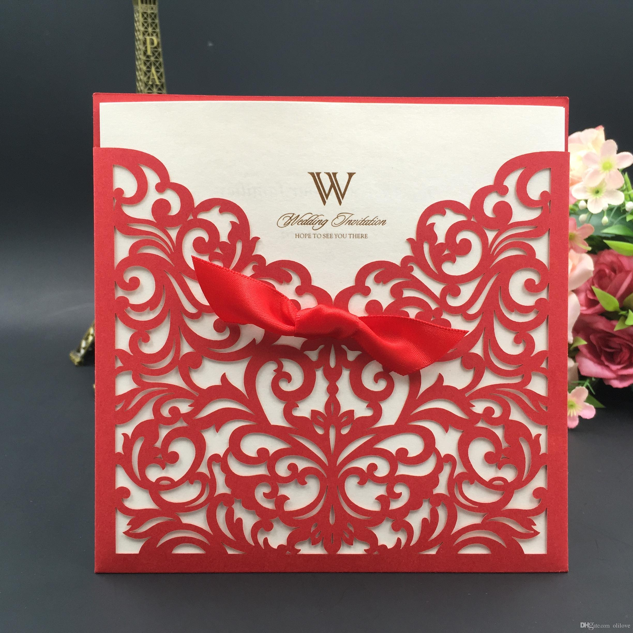 Wedding Invitation Cards Personalized Laser Cut Flower Red Hollow