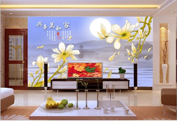 Can Customized Chinese Style Home Decor Flowers Large 3d Mural Wallpaper  Wall Stickers Waterproof Bedroom Tv Sitting Room Design Best Wallpapers  High ...