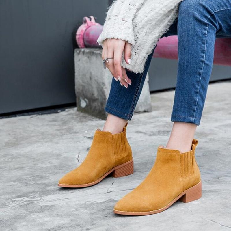 Fashion Spring Autumn Ankle Boots Pointed Toe Women Short Boots Black  Casual Shoes Non Slip Dress Flat Shoes Ladies Boot Brown Boots Winter Boots  For Women ... fe5cbfa18
