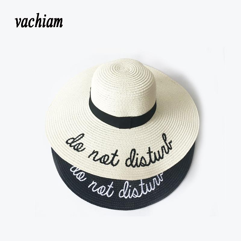 d5715d7c3fd Vachiam 2018 Letter Embroidery Cap Big Brim Ladies Summer Straw Hat ...