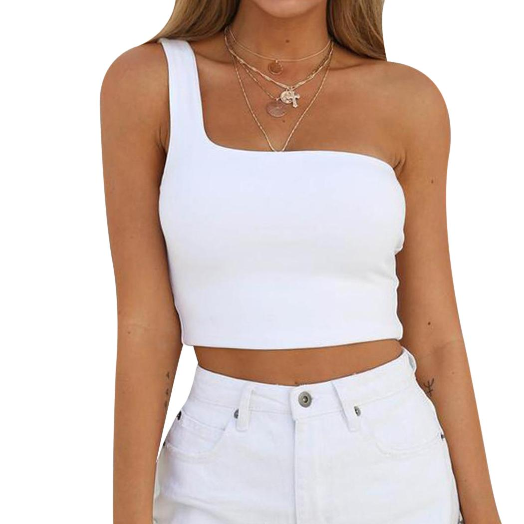 d18abff484 2019 One Shoulder Fancy 2018 Crop Top Women T Shirt Summer Strap Slim  Camisole Female Solid Fitness Tank Tops Club Tees Camis From Movearound