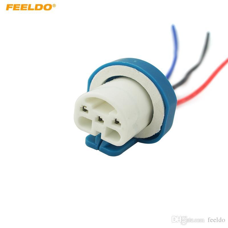 feeldo 10pcs 9007 ceramic socket xenon lamp wiring harness for headlight 9007 light bulb holder connector adapter 5462 9004 Bulb Wiring