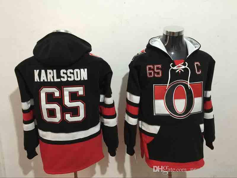 Men's Ottawa Senators #65 Erik Karlsson NEW Black Stitched NHL Old Tim Hockey Hoodie
