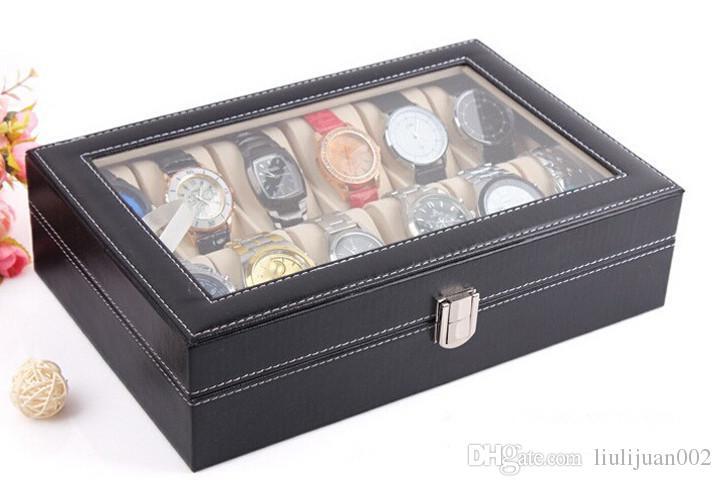 Watch Box 24 Grid Leather Watch Display Case Fenestration watch box Jewelry Collection Storage Organizer Box