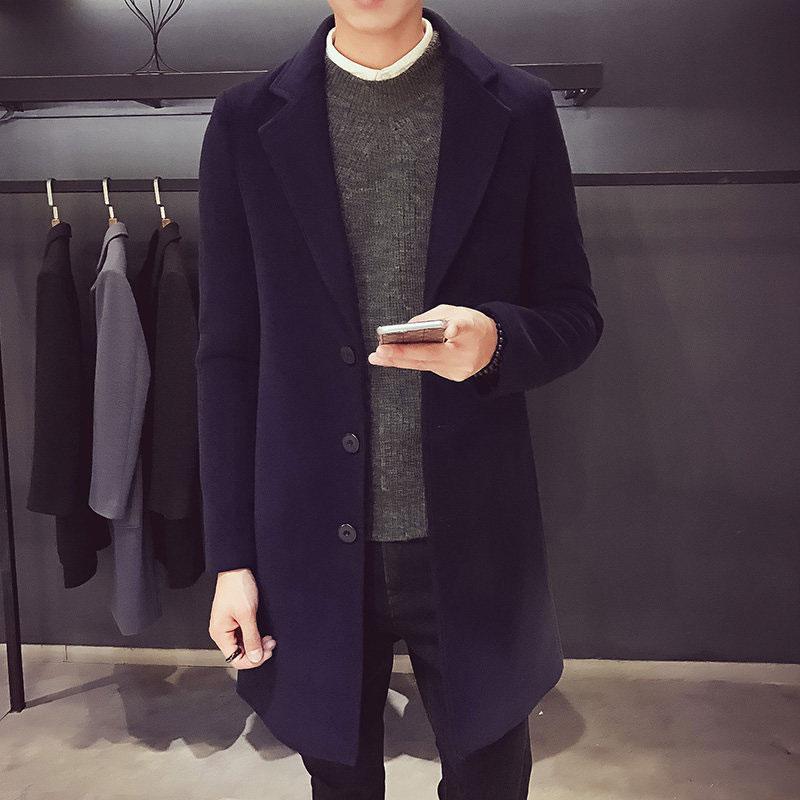 Casacos de alta qualidade Homens Outono Inverno Business Casual Único Breasted Longo Trench Coat Homens Inglaterra Estilo Blusão Plus Size