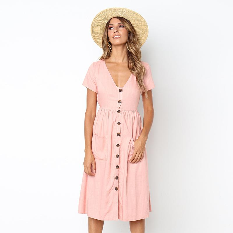 Women Summer Dresses 2018 Sexy Short Sleeve Button Down Swing Midi Dress  With Pockets Fashion Beach Dress Sundress Vestido Mujer Black Dress Casual  White ... a13cc60bf