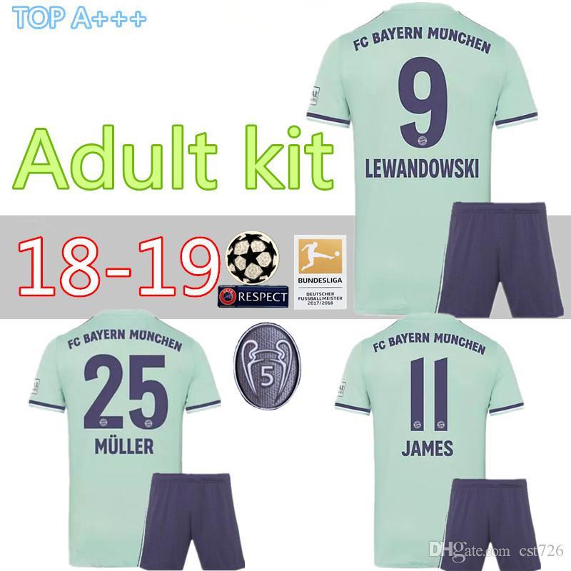 1e2c81081 2019 Bayern Munich Away Adult Kit 18 19 James Soccer Jersey Men SET 2018  2019 VIDAL LEWANDOWSKI MULLER ROBBEN THIRD FULL Set Shirts From Cst726