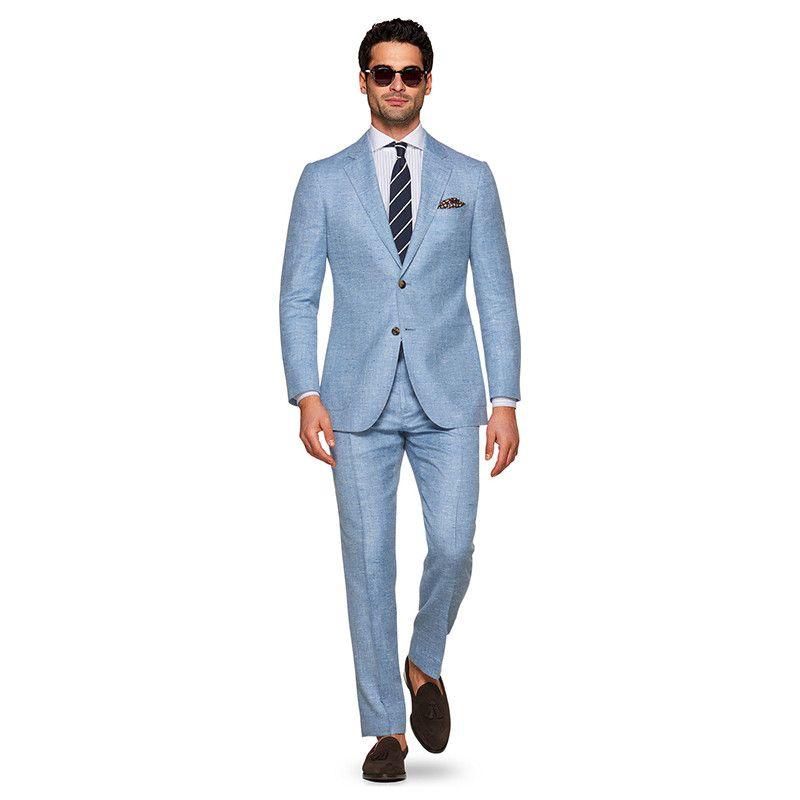 Etwas Neues genug Großhandel Blauer Leinenanzug Scharfer Look Zugeschnitten #HT_75