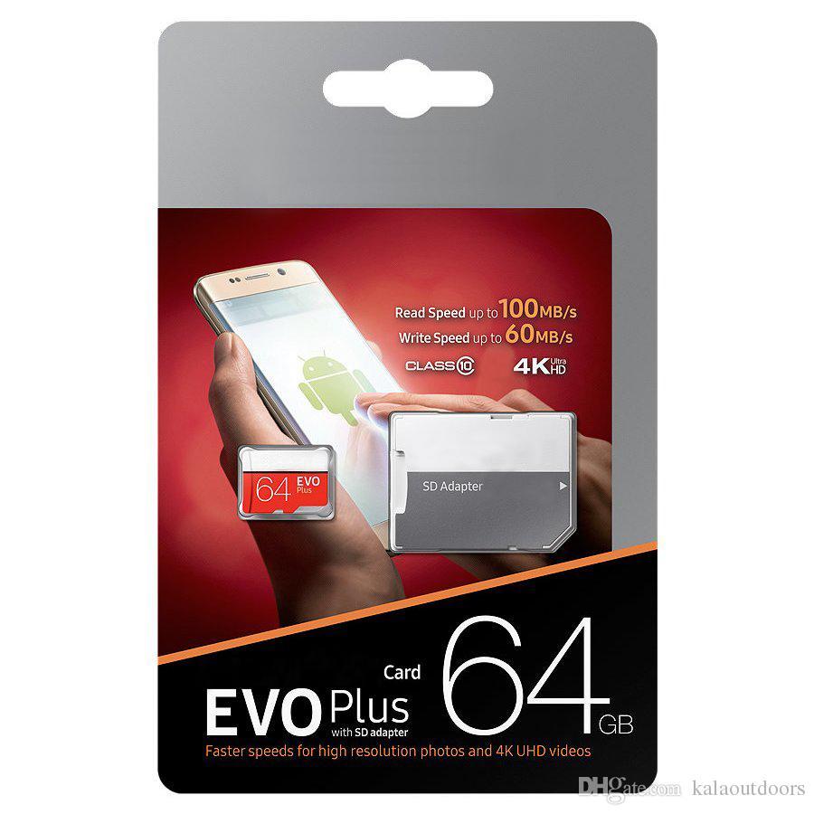 블랙 에보 플러스 + 64GB 128GB 256GB TF 플래시 메모리 카드 클래스 10 무료 SD 어댑터 소매 블리스 터 패키지 Epacket DHL 무료 배송