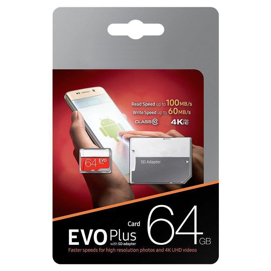 Yeni Varış Siyah EVO Artı + 64 GB 128 GB 256 GB Sınıf 10 Ücretsiz SD Adaptörü Perakende Blister Paket Epacket DHL Ücretsiz Kargo