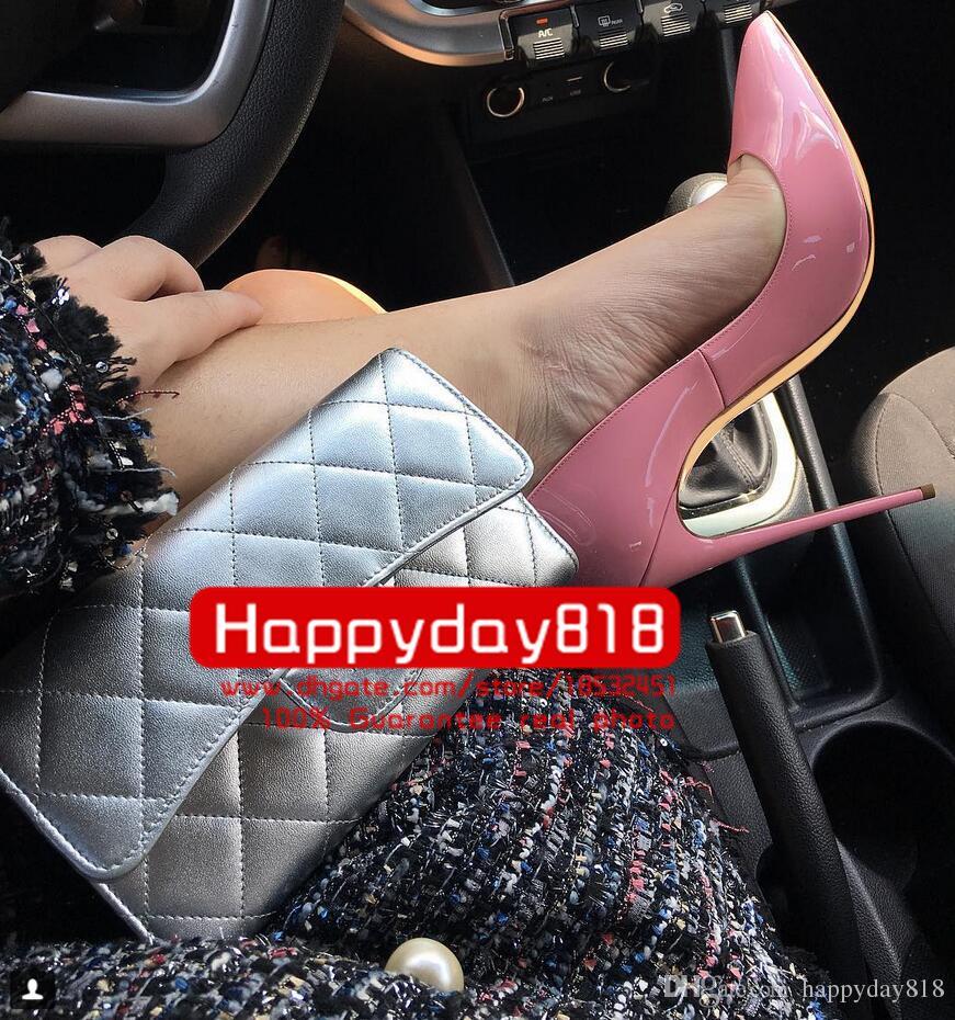 Ücretsiz kargo Moda kadınlar Pembe rugan noktası toe ayakkabı yüksek topuklu ince topuklu ayakkabılar pompalar hakiki deri 120mm 10 cm 8 cm yepyeni