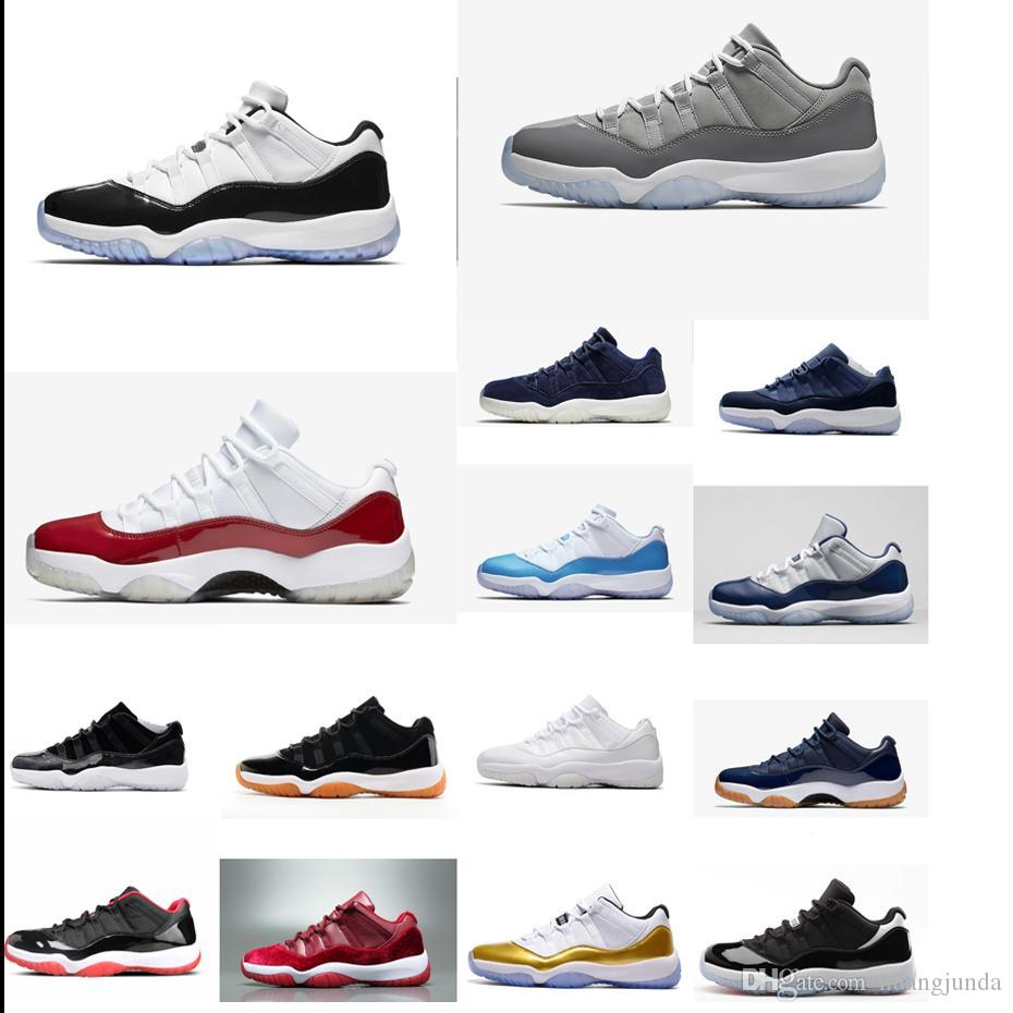 2d47e8a9ff65e6 2019 Cheap Men Jumpman 11 XI Low Cut Tops Basketball Shoes 11s Concords  Prom Night Black Blue Gold Closing Ceremony J11 Sneakers Boots For Sale  From ...