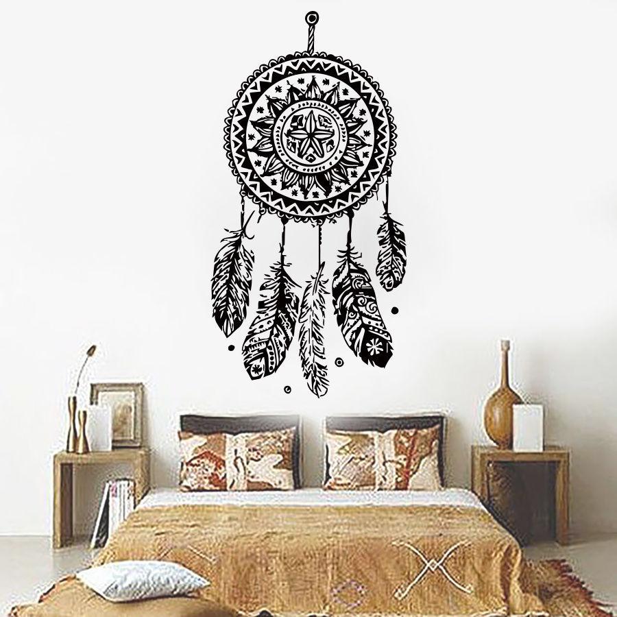 112X 56Cm Dreamcatcher Wall Sticker Vinyl Home Decor Decals Feathers Night  Symbol Indian Stickers Bedroom Livingroom Art D 698