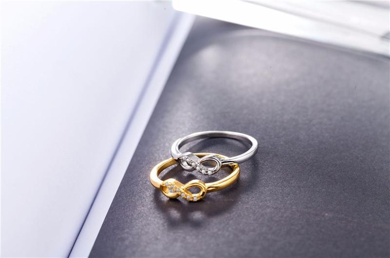 Мода Стерлингового Серебра 925 5 мм Бесконечность Кольца Покрытие Платина Кристалл ювелирные изделия Крест для Женщин Дизайнерский Бренд 8 Кольца Для Женщин Свадьба