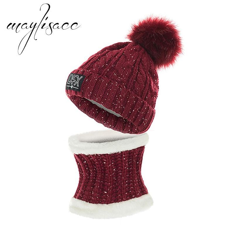 b8b38de2308 Maylisacc NEW Women Winter Warm Knitted Hat With Scarf Set Fleece ...
