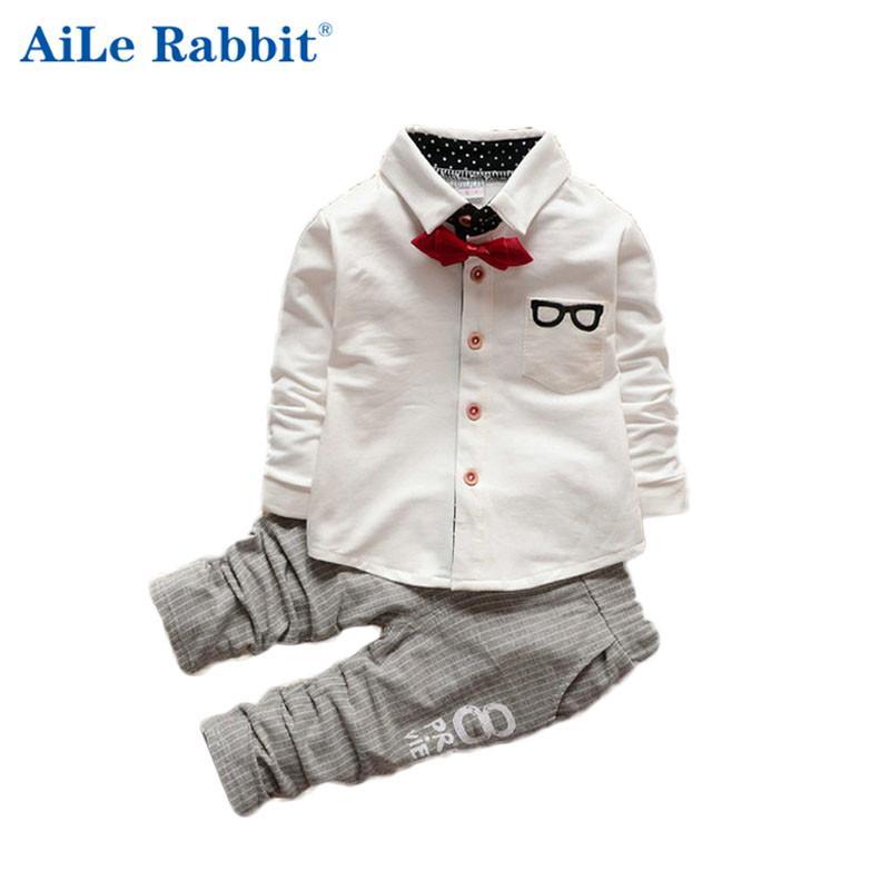 14def2f7a Spring Autumn Korean Clothing Set Baby Boy Gentleman Tie V-neck T ...