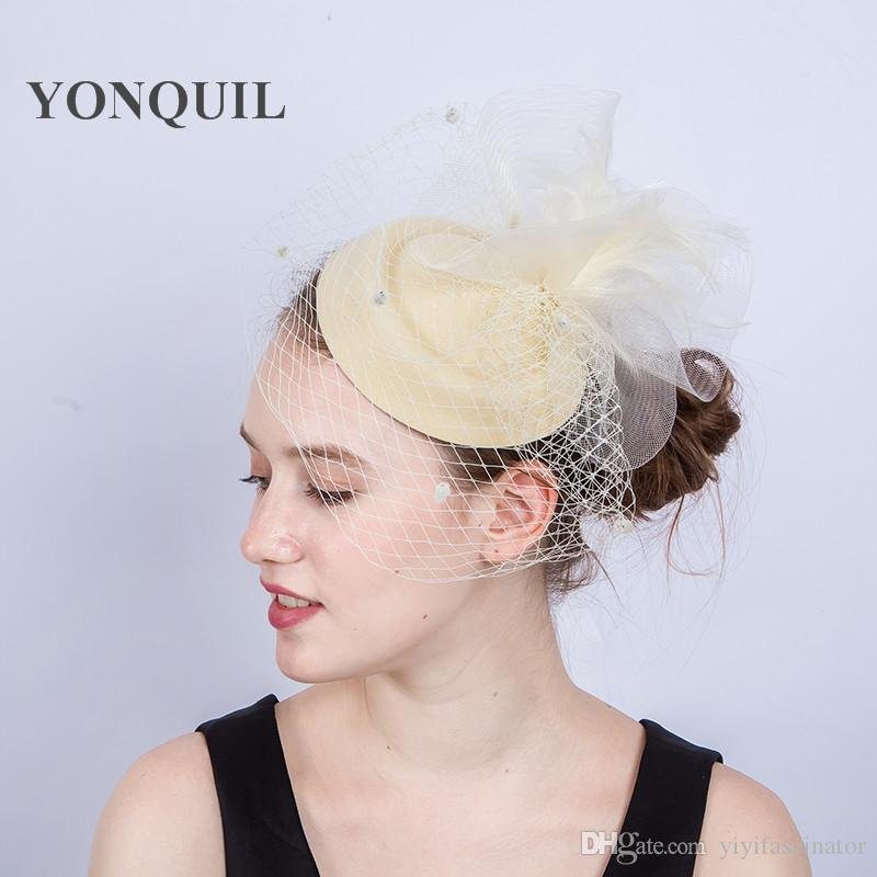 70ba1de6167e2 New Arrival MultiColors Crinoline Sinamay Fascinator with Ivory Feather  Flowers for Melbourne Cup Wedding Races Kentucky Derby Hats SYF210  Fascinator with ...