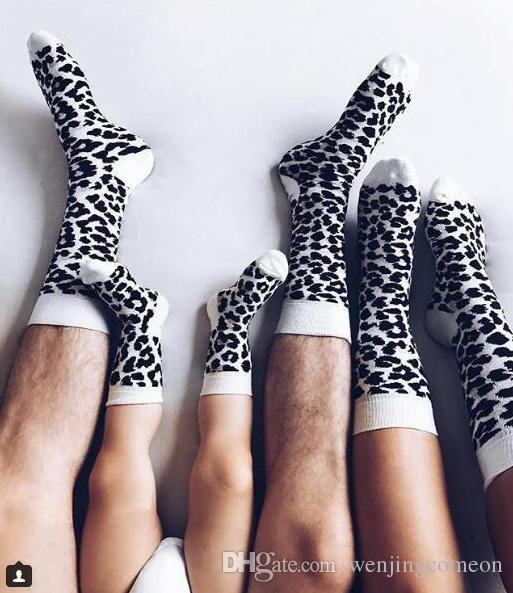 Leopard Printed Unisex Adult Men Women Kids Long Long Cotton Socks Family Matching Parent-child Socks Mummy Daughter Dad Son Socks